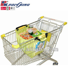 Foldable supermarket cart shopping bag with plastic handle (AD101)