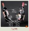 Heart shaped metal wine holder for 3 wine bottles