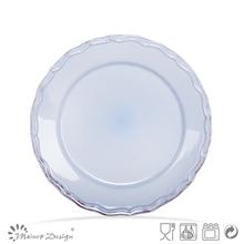 2012 best seller antique-brushed stoneware salad plate in blue color
