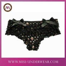 women black ruffle fashion panties with bow