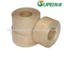 Water activated fiber reinforced kraft paper tape
