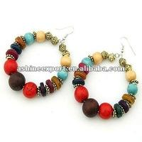 Fashion colorful wood beads hoop earring