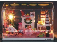 electric 3D wooden romantic house puzzle with lights