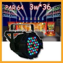 DMX512 3W*36 RGB LED Par 64 LED Stage Light Double Yokes for DJ Club KTV+DMX
