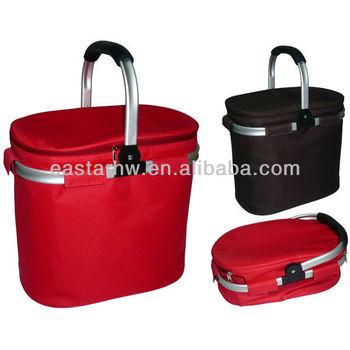 Cooler bag with aluminium folding handles