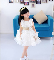 classical manufacturer OEM 2014 white gauze lace girl baby wedding party birthday gift present flower dress import China