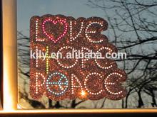 Hot Love Hope Peace Rhinestone Car Sticker Decal from China manufacturer
