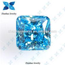 lab created zircon aquamarine square cubic zirconia stone