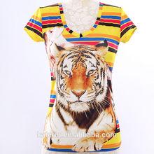 2014 hot sale 3D ladies Print ,sublimation animal printed top T-shirt, low price OEM t shirt
