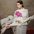 Alibaba expressar azul flor pintada à mão 100% lenço da caxemira