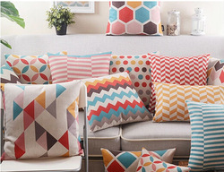 Decorated Fashionable Geometric Linen Printed Office Back Cushion