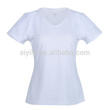 white women v-neck collar t-shirt