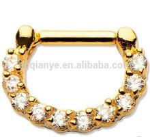 "14 Gauge 1/4"" Unique 316L Surgical Steel Septum Clicker Nose Ring Body Jewelry , Wholesale Body Jewelry Titanium Piercing"