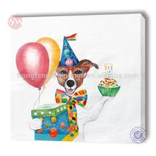 100% handmade canvas modern dog celebrate birthday decoration oil painting