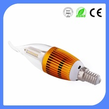 chandelier led lamp E14 3W LED candle light with tail 3 years warranty with ultra brightness 100lm/w