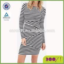 asymmetrical stripe pattern slim long sleeve latest dress designs for ladies
