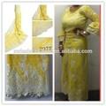 Amarilla de la boda vestidos moda caliente venta africana del cordón químico patrones para prendas de vestir
