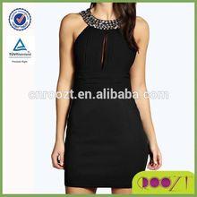 Embellished Neck Plunge Bodycon sleeveless elegant High Quality Sexy Women Dresses