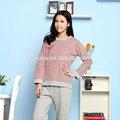 100% maglia di cotone tessuti di spessore medio signore magazzino pigiama set