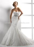 Modern Mermaid Sweetheart sleeveless Sequins diamond Belt full Lace Wedding Dress