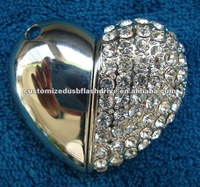 jewel heart-shaped pen drive/usb jewellery 1gb