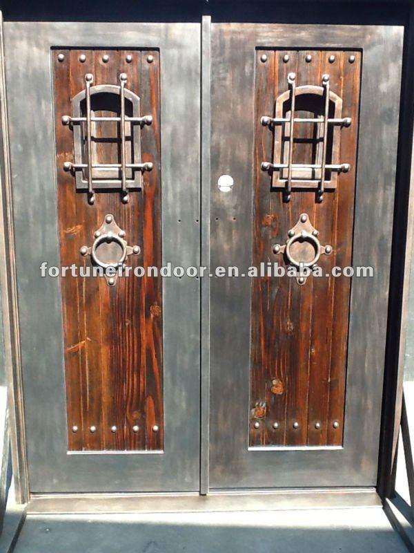 Principal de entrada puertas de hierro forjado doble - Puertas de entrada de hierro ...