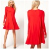 Loose Flared Swing Dress With Long Sleeves DR1596