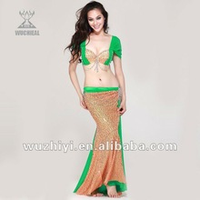 Newest design fashion shinning beaded bellydance apparel,Belly dance clothing,sequine belly dancing costumes suit (QC2053)
