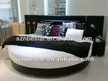 2013 hot sale modern elegant design leather round bed ,bed room furniture