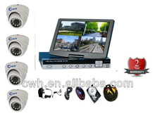 Complete Kit CCTV 4X IR Day/Night Camera+4CH D1 DVR+10.5 inch LCD+500GB HDD