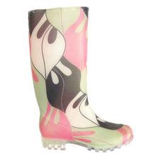 Flower printing cheap half rain transparent boots