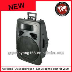 Plastic battery portable wireless amplifier loudspeaker, 12 inch, with USB, SD, FM radio, remote