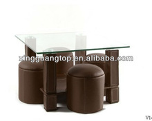 Rectangular shaped glass & leather coffee table