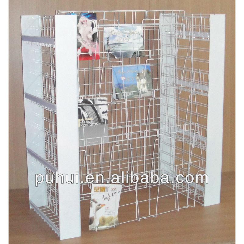 Island Shape Metal Wire Floor Prints Display Shelf View