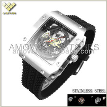 stainless steel skeleton automatic mechanical watch luxury watch men watches