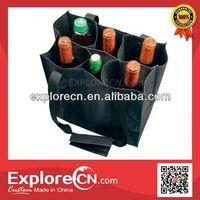 Reusable 6 bottle non woven wine bag