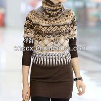 12STC0707 knitting patterns ladies turtleneck sweater german sweater pullover