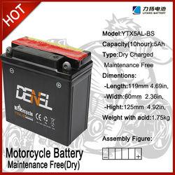 YTX5AL-BS, 12v batteries for TWO wheel moto batteries