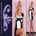 ml17676 sedutora elegante preto branco senhoras curto pele apertada padrões simples de verão vestidos
