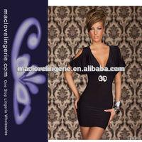 ML17660 Black Pearl Hollow Shoulder Design Fashion Formal Short Frock Dress