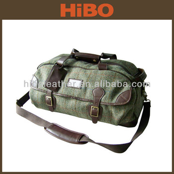 tweed fabric and genuine leather travel bag