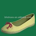bhs095470 señoras zapatos de la bailarina con rayas parte superior de lona