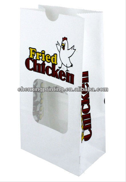 Paper Fried Chicken Carry Out Bags with window - 5 x 3 x 9.675""