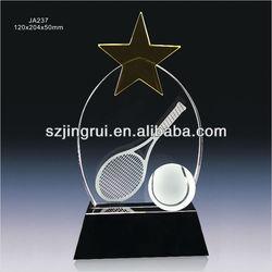 Tennis ball crystal glass trophy award with yellow star JA237