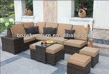 Plastic wicker rattan sectional sofa set / outdoor patio furniture