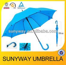 Automatic Printing Rain Straight Umbrella Colored Hook Handle