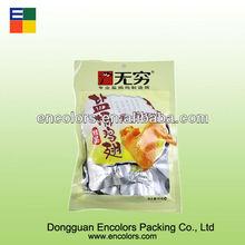 Three side-sealed vacuum food packaging bag for chicken wings/vacuum meat food packaging bag