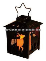 Black metal lantern with hallow deer and star hanger for chrismas decor
