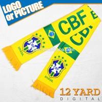 2014 Brasil/brazil world cup logo printed fans warmly winter man knit sport scarf