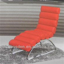 White leather lounge chair with ottoman BSD-257014
